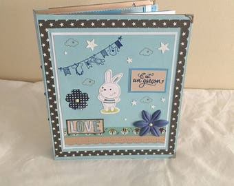 "Baby boy ""Bunny"" photo album scrapbook"