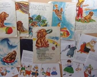 Vintage - set of 15 pages illustrated - tales for children REF. 564