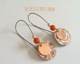 Orange pop pattern blue round pendants earrings