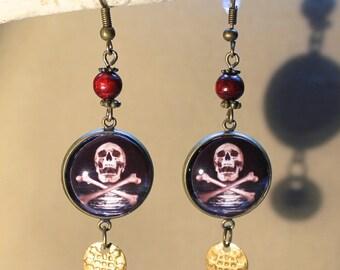 """Earrings """"pirate skull"""" steampunk, fantasy"""