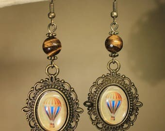 "Bronze colored metal, Steampunk earrings retro vintage ""Balloon"""