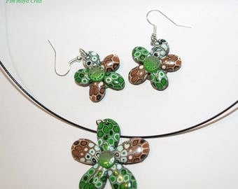 Adornment necklace and earrings ethnic Brown and green flowers