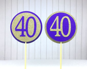 "40th Birthday Cupcake Toppers - Gold Glitter & Violet Purple ""40"" - Set of 12 - Elegant Cake Cupcake Age Topper Picks Party Decorations"