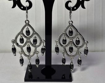 Genuine Hematite drop chandelier earrings
