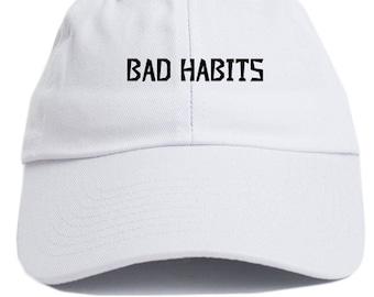 Bad Habits  Dad Hat Adjustable Baseball Cap New - White