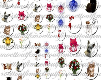 60 digital images cabochon animal, flower and scent (send by email)