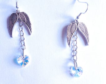 Earring silver angel wing and Swarovski element stone