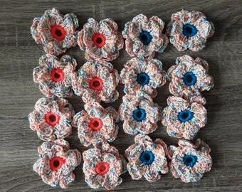 Set of 16 crochet flowers handmade
