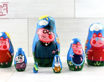 Peppa Pig Cartoon Matryoshka set of 7 pcs Stacking Wooden Russian Nesting Dolls