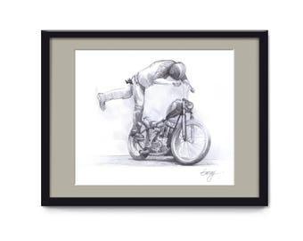 Kick-start - Harley Davidson Panhead bobber classic motorcycle Framed Poster Print