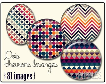 Digital collage sheets - 81 illustrated images for cabochon - Pattern Peas, chevrons