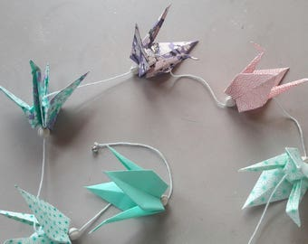 Origami cranes Japanese paper - tone Garland costs Mint and pink
