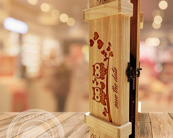 OWL IN LOVE - Personalized Wine Box, Wedding Wine Box, Ceremony Wine Box, Anniversary Wine Box, Custom Engraved Wine Box, Wedding Gift