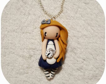 """Necklace little girl """"hair, gold, Navy blue dress, clock"""" (Alice collection)"""