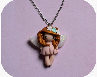 "Necklace ""golden hair, pastel pink dress"" little girl (collection fee)"