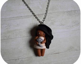 "Necklace Princess pocahontas ""hair black, beige dress"" (Princess collection) (2)"