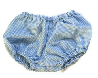 Bloomer - panties puffy gingham blue sky - 6 months