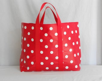 White polka dots oilcloth Tote