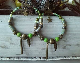 Green and bronze hoops with choice of charm