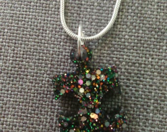 Puzzle Necklace Black Glitters