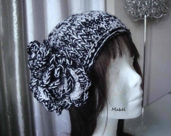 Grey and black headband, cowl, snood, knitting and crochet flower