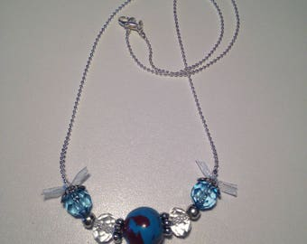 """Blue and Burgundy polymer clay """"pearls"""" necklace"""