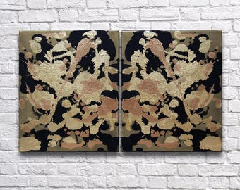 """RoR #5 Multi-Gold Tone Rorschach Wall Art with Gold Leaf Twin Canvas Set (12"""" x 16"""" each   total 24"""" x 16"""")"""