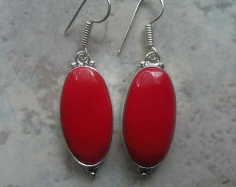 Solid 925 Silver and Red coral earrings