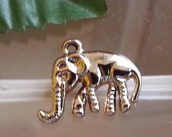 elephant Locket pendant in alloy with stainless gold, 16 x 20 x 6 mm, hole: 1 mm