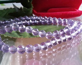 son of 80 beads of purple glass faceted 4 mm, hole 1 mm