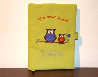 Protects health lime green embroidered 2 owls and personalized