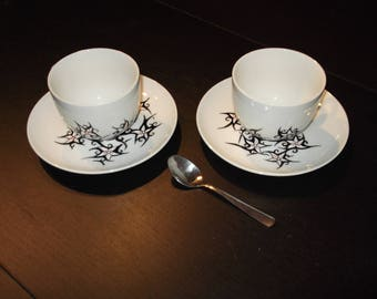 """porcelain painted black & white """"earynia"""" chocolate cups"""