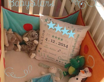 Personalized pillow satin baby girl or boy name star 40 cm