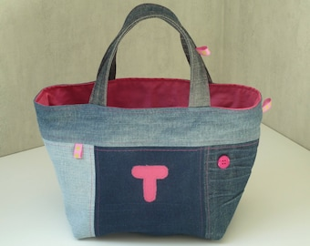 Hot pink denim patchwork blue T, lined with cotton fabric basket