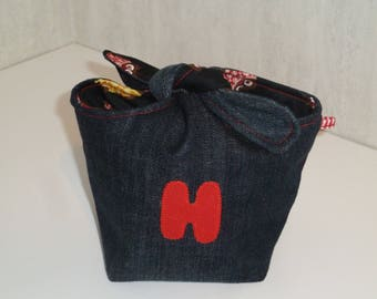 Pouch tied recycled denim, H, black pattern cotton Interior owls