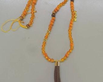 Orange long dominant meditation necklace