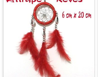 Dream catcher Dream Catcher red natural feathers, pearls and shells