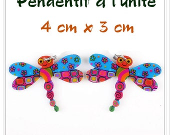 Pendant Dragonfly acrylic bright multicolor printed double sided unit