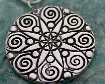 silver geometric necklace / silver floral necklace / large round pendant / fine silver pmc / handmade