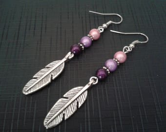 Silver feather earrings and Pearl Pink, mauve, purple