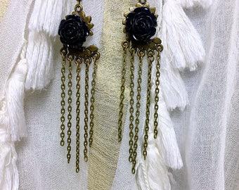 Earrings pink black Bohemian bronze chain