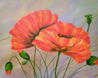 "Painting on canvas ""Poppies in bloom"""