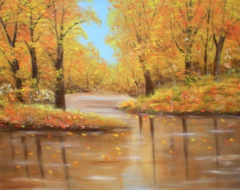 "Painting on canvas ""It's autumn in the Woods"""