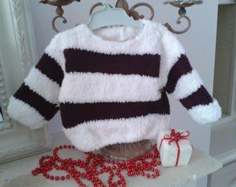 Baby white/purple stripe sweater