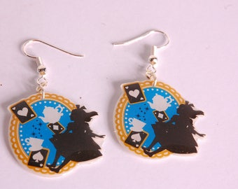 Earrings, silhouette Alice blue background, teapot, Cup and cards