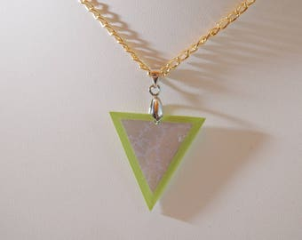 Necklace Arabesque, triangle, purple and lime,