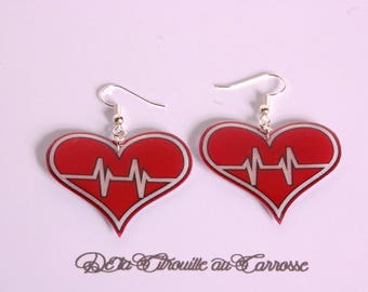 Red heart, heart earrings