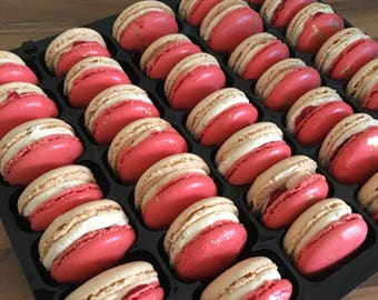 Ivory and Red Wedding favours french macarons