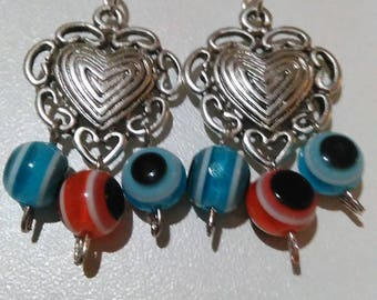 Earrings silver heart with pearls