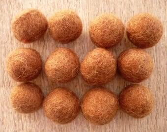 felted wool, Brown, origin Nepal bead 18 mm